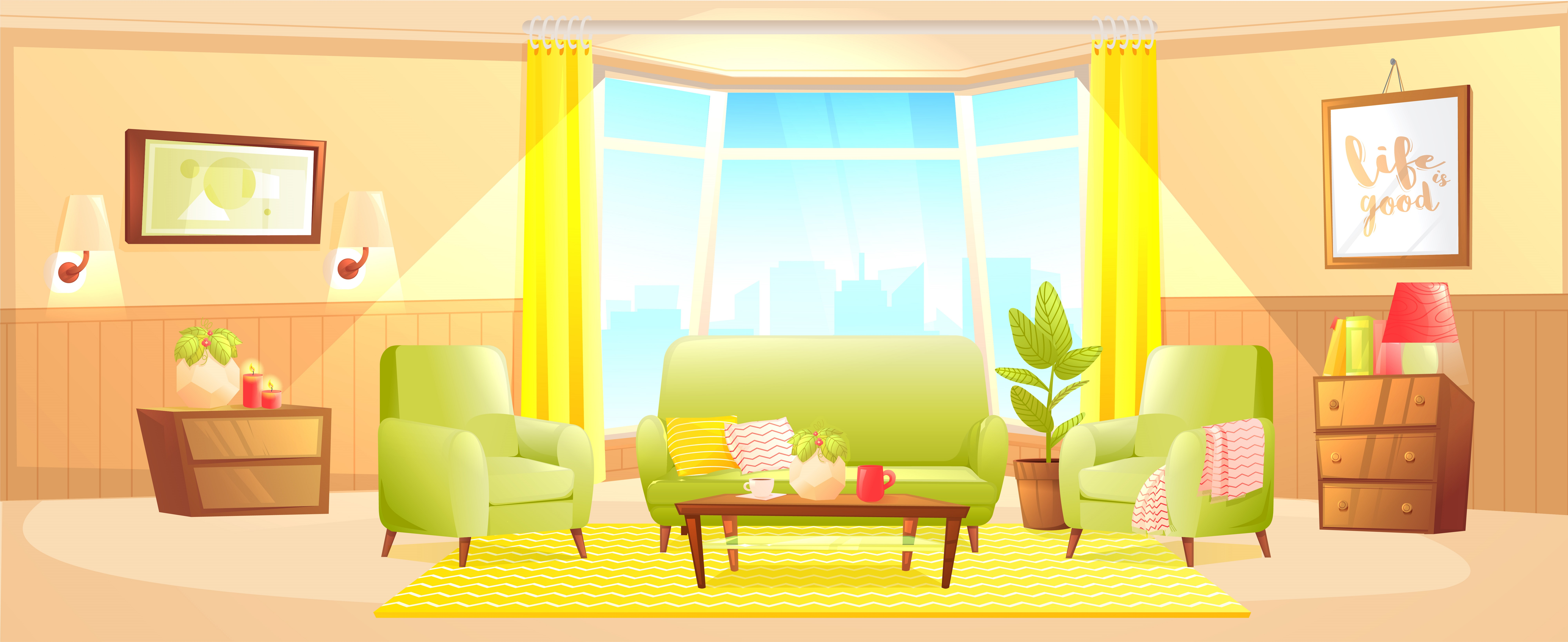 Classic living room home interior design banner - Download ...