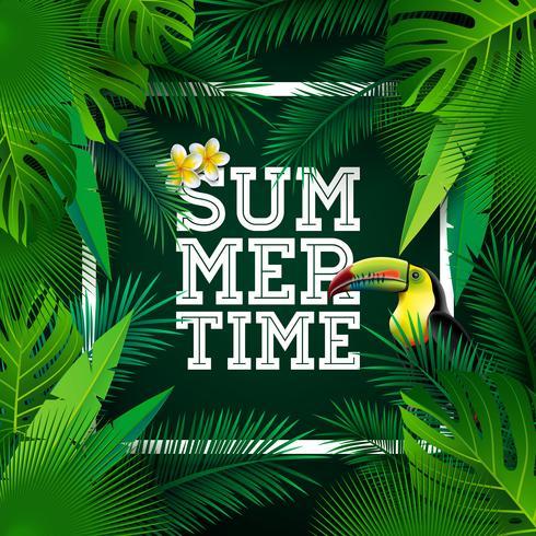 Vector el ejemplo tipográfico del día de fiesta del tiempo de verano con el pájaro y la flor del tucán en fondo de las plantas tropicales. Plantilla de diseño con hoja de palma verde.