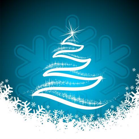 Vectorvakantieillustratie met glanzende abstracte Kerstboom op blauwe achtergrond.
