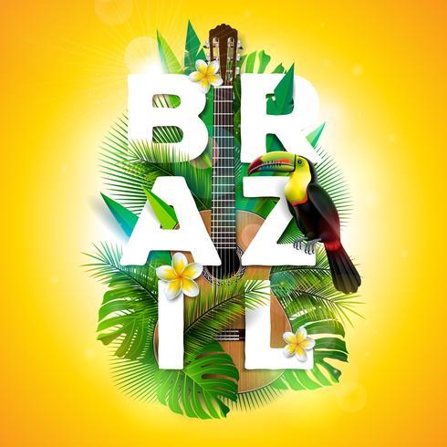 Vector el ejemplo de la tipografía del Brasil con el pájaro del tucán, la guitarra acústica y la flor en el fondo de las plantas tropicales. Plantilla de diseño con hoja de palma verde.