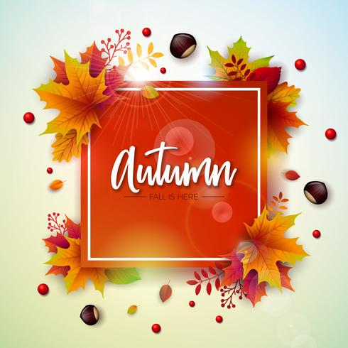 Autumn Illustration with Colorful Falling Leaves