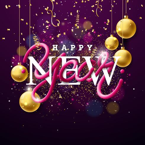 Ilustração do ano novo feliz com projeto entrelaçado da tipografia do tubo e bola de vidro decorativa do ouro no fundo brilhante. Vector feriado EPS 10 design.
