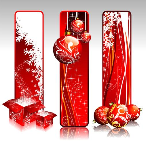 Three vertical banners illustration on a Christmas theme.