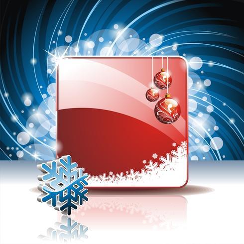 Vector Weihnachtsillustration mit Schneeflocke 3d auf rotem Hintergrund