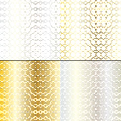 silver and gold mod circle geometric lattice pattern vector