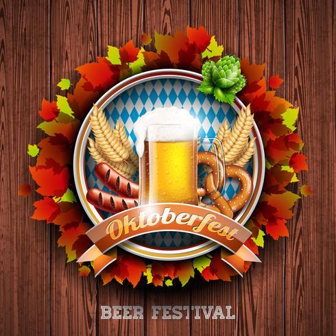 Ejemplo del vector de Oktoberfest con la cerveza de cerveza dorada fresca en el fondo de madera de la textura. Banner de celebración para el tradicional festival de la cerveza alemana.