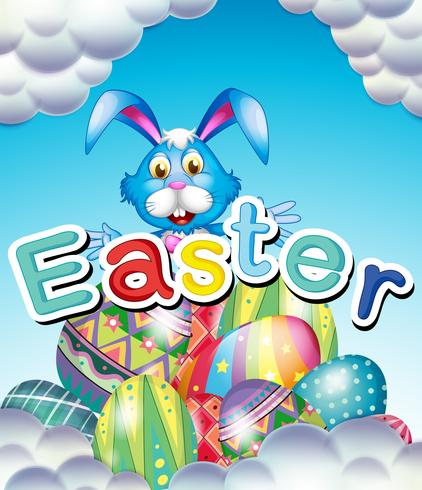 Easter bunny and eggs in sky