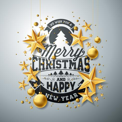 Vector Christmas and New Year illustration with typography and cutout paper stars on clean background. Holiday design for greeting card, poster, banner.