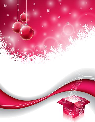 Vector Christmas design with magic gift box and red glass ball on snowflakes background.