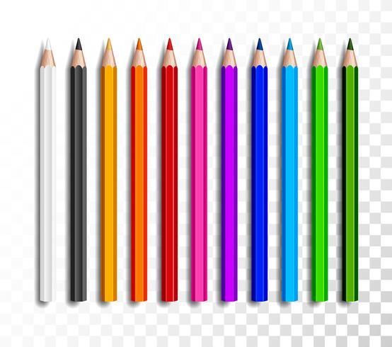 Conjunto de diseño de lápices de colores realistas sobre fondo transparente. Artículos de la escuela, ejemplo colorido del vector del lápiz.