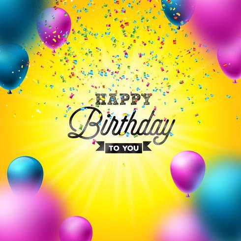 Diseño del vector del feliz cumpleaños con el globo, la tipografía y el confeti que cae en fondo amarillo brillante. Ilustración para la celebración del cumpleaños. Tarjetas de felicitación o cartel de fiesta.