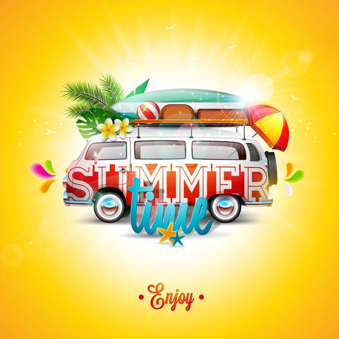 Vector Summer Holiday illustration on blue sky and cloud background. Tropical plants, flower, travel van, surf board and umbrella. Holiday design template for banner