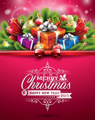 Vector Christmas illustration with typographic design and shiny holiday elements