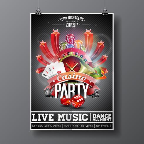 Diseño de Vector Party Flyer sobre un tema de Casino con ruleta y tarjetas de juego