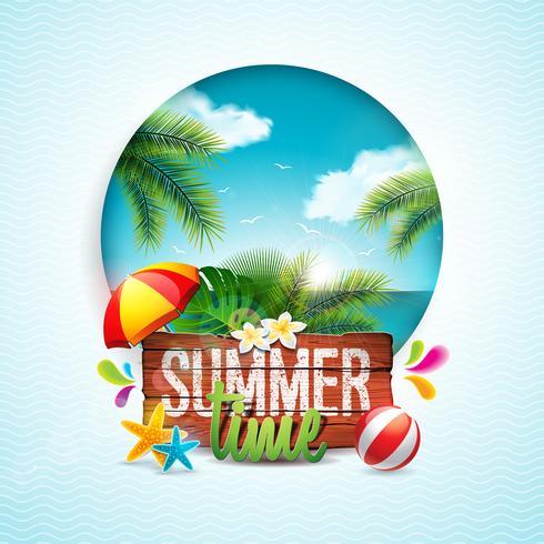 Vector illustration typographique de vacances de l'heure d'été sur fond de bois vintage. Plantes tropicales, fleurs, ballon de plage et parasol avec paysage de l'océan. Modèle de conception pour la bannière