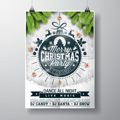 Vector el diseño de la fiesta de Navidad feliz con los elementos de la tipografía del día de fiesta y las estrellas brillantes en fondo de madera del vintage.