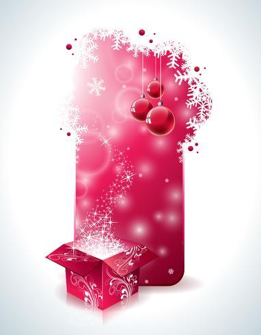 Vektor juldesign med magisk presentförpackning och röd glasboll på tydlig bakgrund.