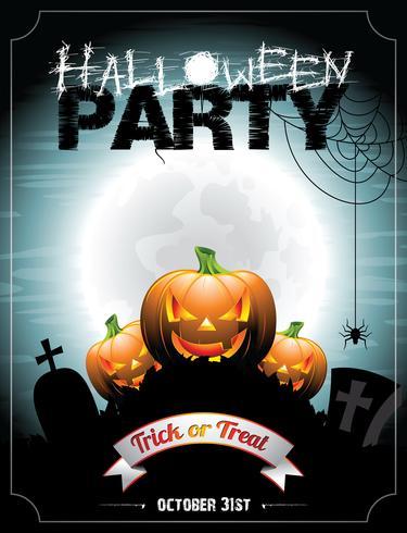 Illustrazione vettoriale su un tema di Halloween Party con zucche.