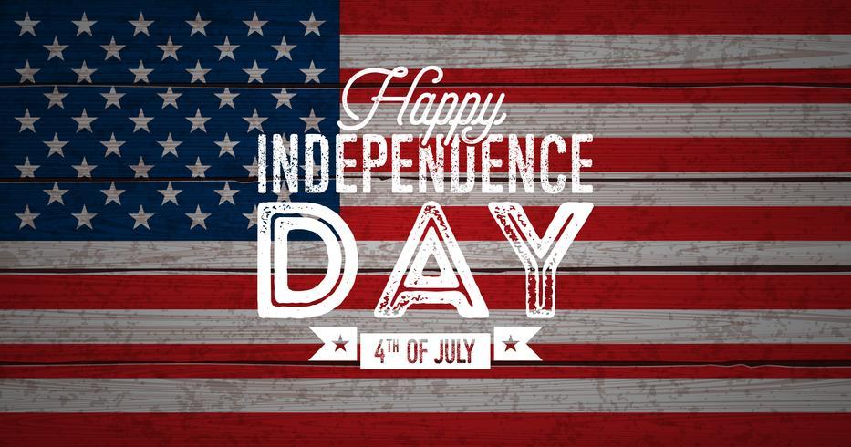 Happy Independence Day of USA Vektorillustration. Fjärde juli design med flagga på vintage trä bakgrund för banner, hälsningskort, inbjudan eller semesteraffisch.