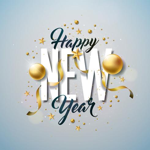 Happy New Year Illustration with Typography and Ornamental Ball on White Background vector