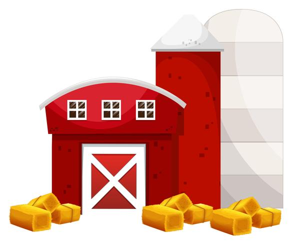 Red barn and two silo in the farm vector