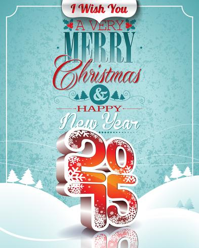 Vector Christmas illustration with typographic design on snowflakes background.