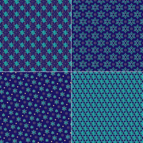 azul y oro adornado estrella judía patrones vector