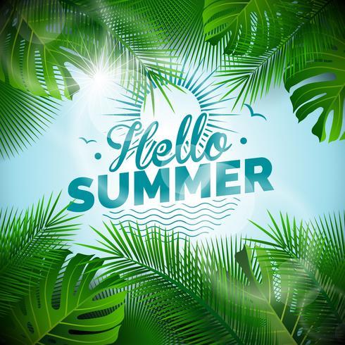 Vector illustration typographique Bonjour l'été avec des plantes tropicales sur fond bleu clair.