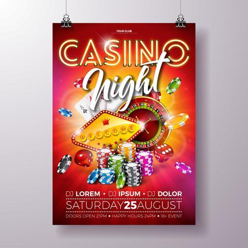 Vector illustration flyer nuit Casino avec roue de roulette et lettrage brillant néon sur fond rouge. Concept de design de luxe jeu invitation modèle affiche.