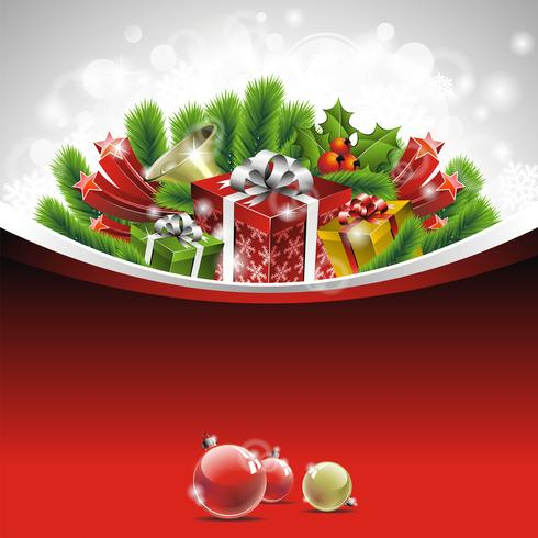 Christmas illustration with gift boxes on red background vector