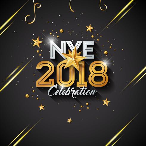 Ejemplo de la Feliz Año Nuevo con la letra de la tipografía y la bola ornamental en fondo negro. Vector de diseño de vacaciones para la tarjeta de felicitación Premium, invitación del partido o banner promocional.