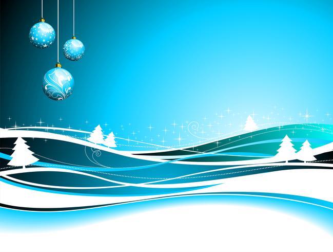 Vector Weihnachtsillustration mit Glaskugeln auf Winterhintergrund.