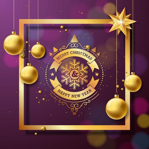 Feliz Natal e feliz ano novo ilustração com tipografia e bolas de vidro de ouro sobre fundo roxo. Vector Design de férias para cartões, banner, cartaz, presente.