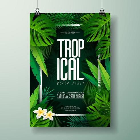 Vector Summer Beach Party Flyer Illustration with typographic design on nature
