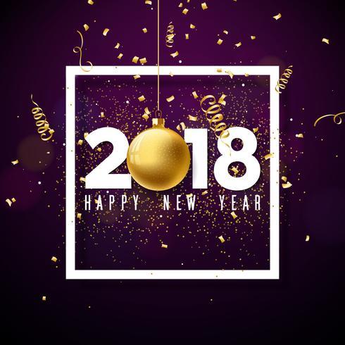 Vektor Gott nytt år 2018 Illustration med vit nummer och prydnadsboll på glänsande konfetti bakgrund. Holiday Design för Premiumhälsningskort, Party Invitation eller Promo Banner.