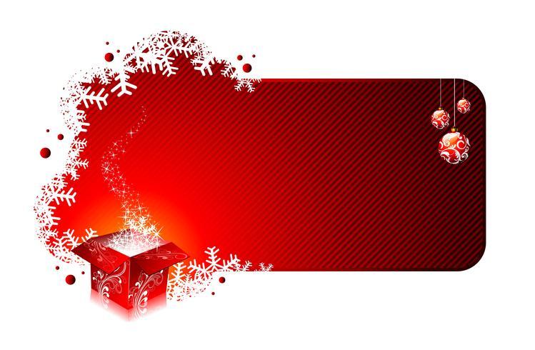 Ilustração de Natal com caixas de presente em fundo vermelho