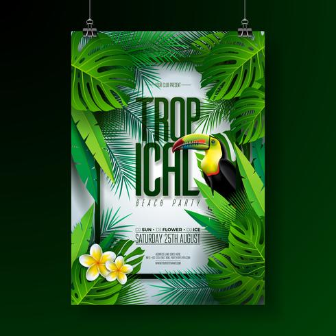 Vector Summer Tropical Beach Party Flyer Design with Toucan, Flower and typographic elements on exotic leaf background. Summer nature floral elements