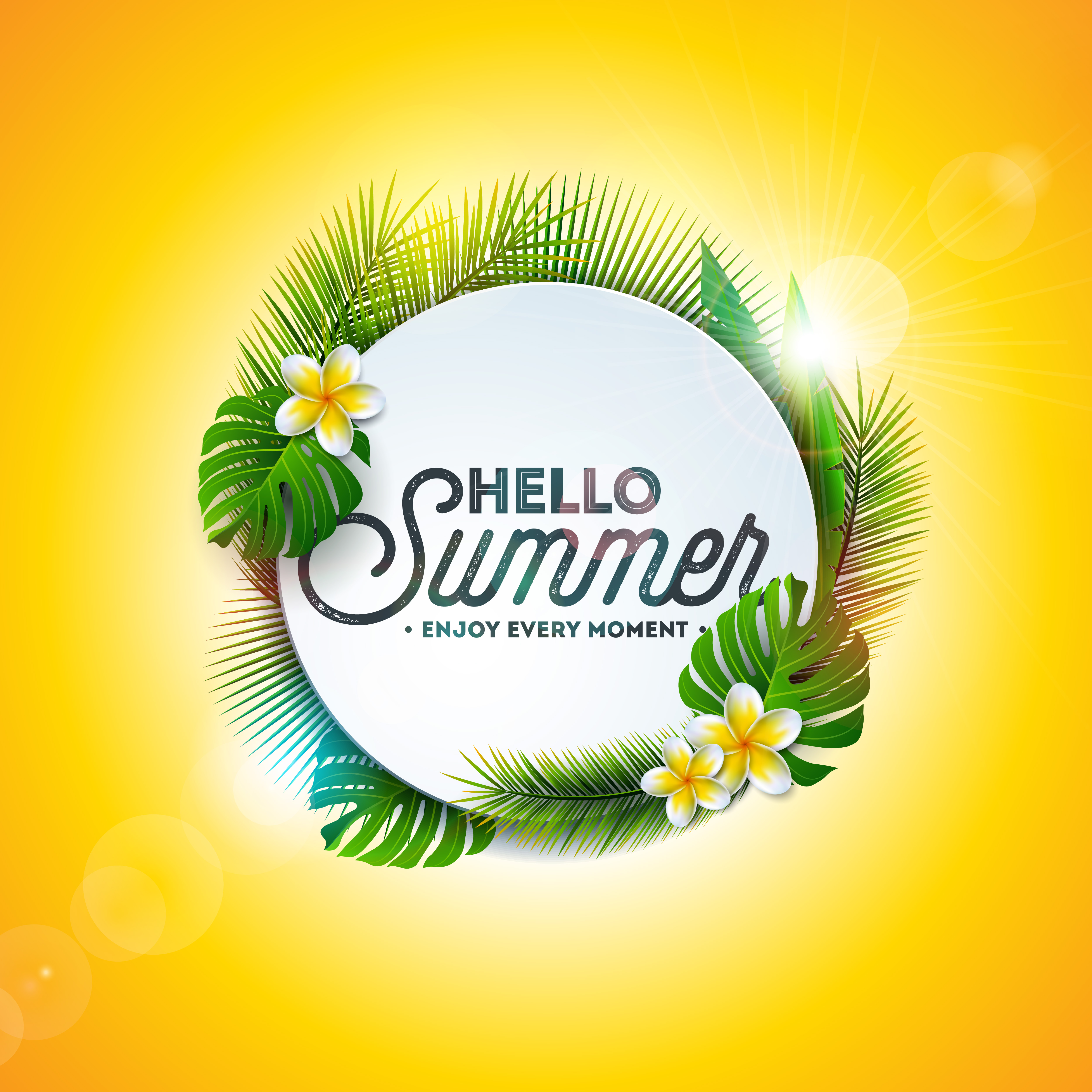 Vector Hello Summer Holiday Typography Illustration With
