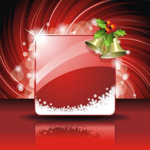 Vector Weihnachtsillustration mit Stechpalme und Glocken auf rotem Hintergrund