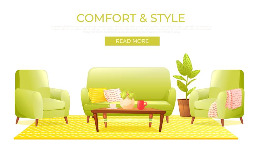 Classic living room home interior design banner