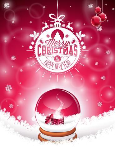Vector ilustración de feliz Navidad vacaciones con diseño tipográfico