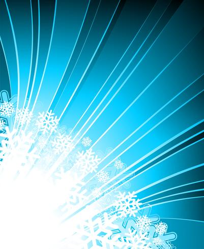 Vector Christmas illustration with snowflakes on blue background.