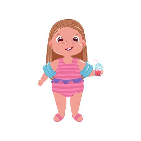Flicka i baddräkt med glas juice