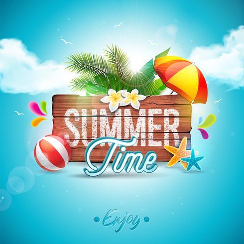 Vector a ilustração tipográfica do feriado das horas de verão no fundo da madeira do vintage. Plantas tropicais, flor, bola de praia e pára-sol com o céu nebuloso azul. Modelo de design para banner