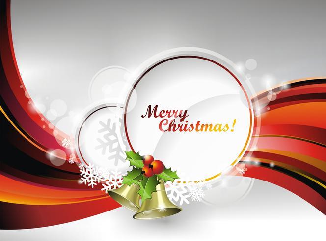 Vector la ilustración de la Navidad con acebo y campanas en espacio del texto