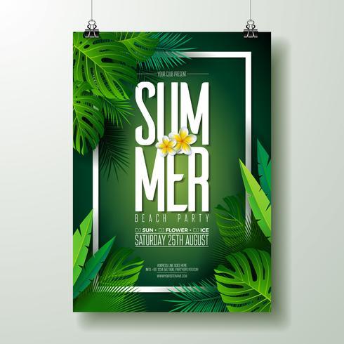 Vector Summer Beach Party Flyer Design med typografiska element på exotiskt blad bakgrund. Sommar natur blommiga element, tropiska växter, blomma. Designmall för banner, flygblad, inbjudan, affisch.
