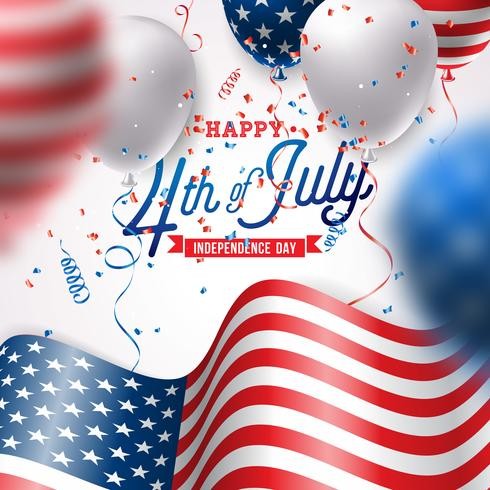 Independence Day of the USA Vector Illustration. Fourth of July Design with Air Balloon and Flag on White Background for Banner, Greeting Card, Invitation or Holiday Poster.
