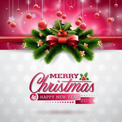 Vector illustration de Noël avec la conception typographique et éléments de vacances brillantes sur fond de flocons de neige