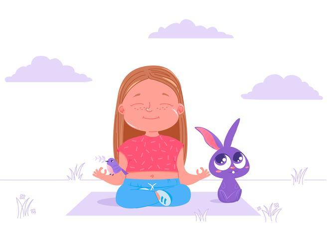 Leuk meisje die yoga buiten met konijn & vogel doen