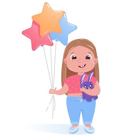 Weinig leuk meisje viert gelukkige verjaardagspartij met stuk speelgoed konijntje en kleurrijke ballons